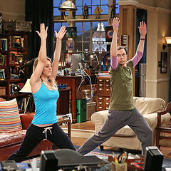 Penny and Sheldon performing yoga to relax.
