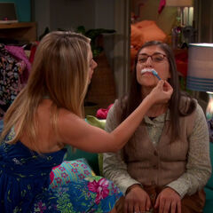 Amy getting her lip waxed.