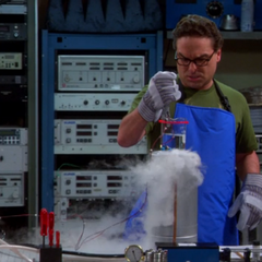 Leonard working with super-cooled helium.