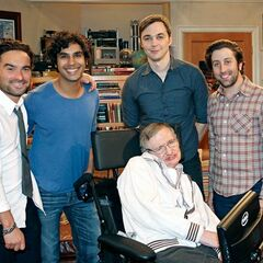 Johnny, Kunal, Jim, and Simon with Stephen Hawking.