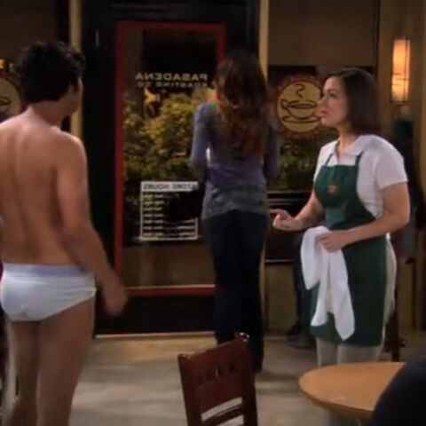 Raj getting naked at the coffee shop.