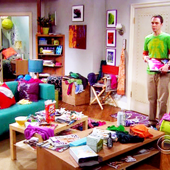 Sheldon aghast at Penny's apartment.