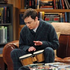 Sheldon plays bongos.