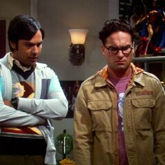 Raj and Leonard not believing what they are seeing or the story Howard is telling.