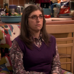 Amy quietly listening to Sheldon's apology.