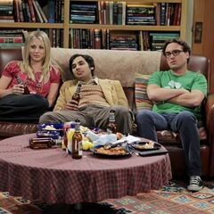 Penny, Raj and Leonard watch a football game together.