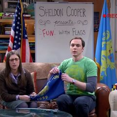 Sheldon and Amy are interrupted while recording his flag show by Leonard.