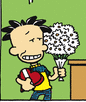 Nate holding flowers and a box