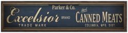 Parker and Co Excelsior Canned Meats sign