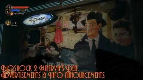 Bioshock 2 Minerva's Den Advertisements & Info Announcements