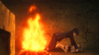 Rentaro pins Kayo to the ground