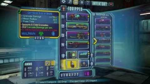 Borderlands 2 - Grenade Mods - Kiss of Death (Transfusion)