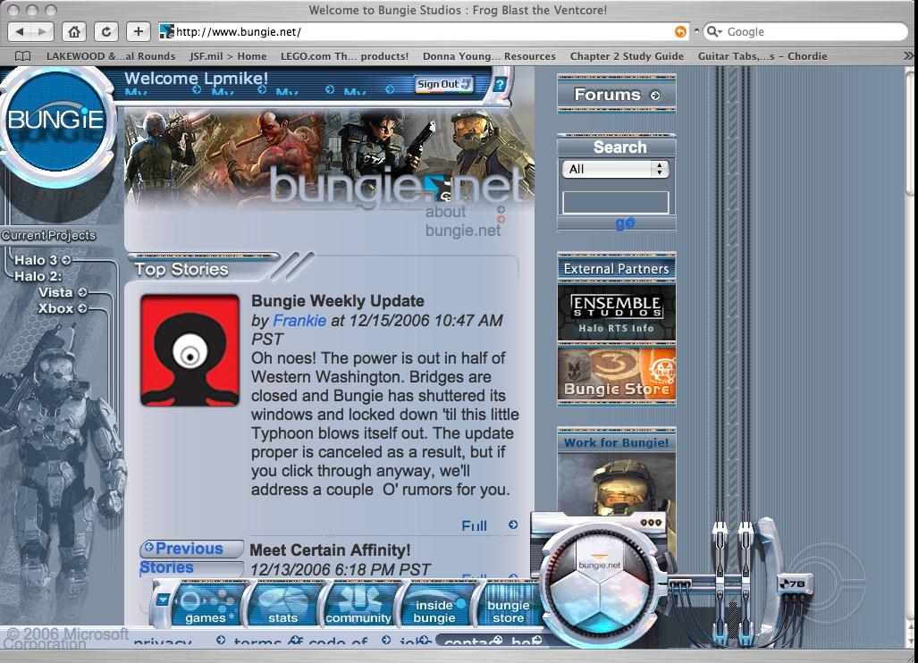 Bungie homepage phrase