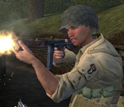 File:101 Airborne soldier firing Thompson CoD.jpg