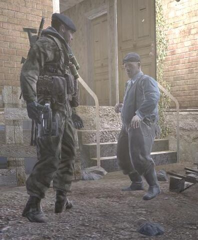 File:Old man confronted by enemy troops Hunted CoD4.jpg