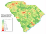 South Carolina population map