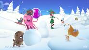 Bubblegum Troll dodging a colour bomb in Release The Magic video