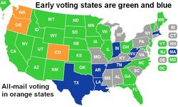 US map 2. Early voting states are green and blue