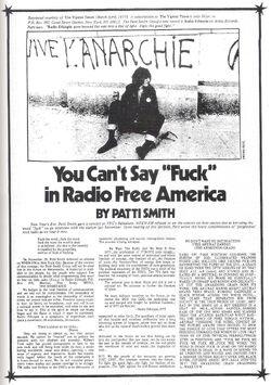 Patti Smith 1977 You Can't Say Fuck in Radio Free America