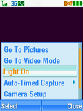 Motorola V3xx Camera Light Menu