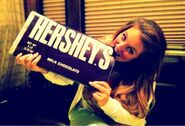 Bite the big Hershey chocolate bar