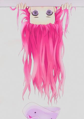 File:Anime girl upside down hair coming down looking purple eyes.png