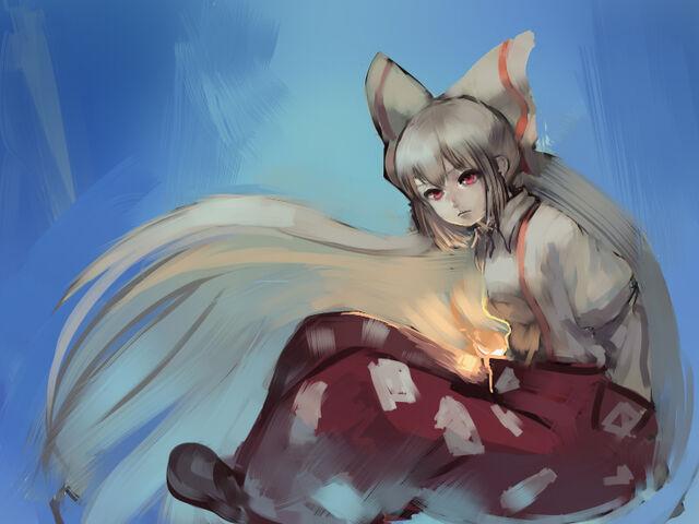 File:S - 1597984 - 1girl bow flame fujiwara no mokou hair bow inishie kumo long hair red eyes silver hair sitting solo t.jpg