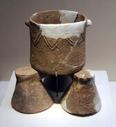 Neolithic pottery cauldron & supporting legs, Cishan Culture, Hebei, 1977