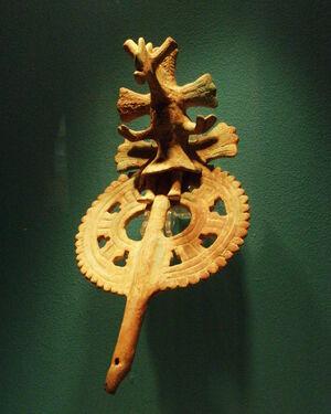Puebla - Museo Amparo - Flûte de Romojadan en céramique, Veracruz 600 dC.JPG