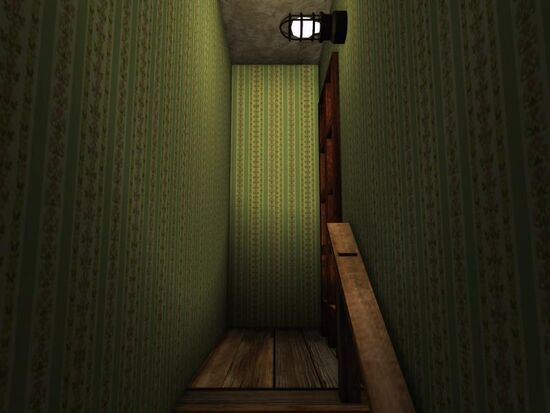 Basement - Stairs Wallpaper - Floral Stripes - Green