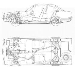 Chevrolet Vega component arrangement