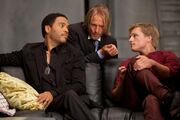 Haymitch, Cinna, and Peeta