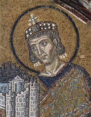 Byzantine Mosaic of Emperor Constantine I and St. Sophia