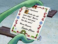 Santa's message to Squidward