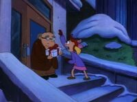 Helga gives the snow boots to Mr. Bailey