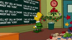 Bart's Christmas chalkboard gag