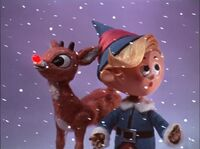 Rudolph and Hermey in a snowstorm