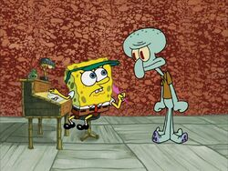 SpongeBob writing Squidwards letter