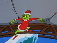 Grinch prepares to dump his sleigh