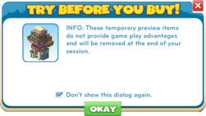 Try Before You Buy dialog