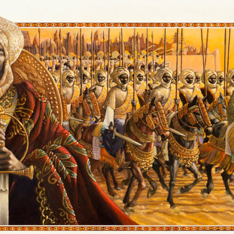 Portrait of Askia with cavalry, by Leo Dillon