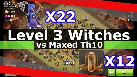 SICK!! 22 Level 3 Witches + 12 Earthquake Spells vs Maxed Th10 (DEVASTATED!!)