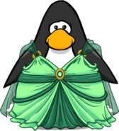 Emerald Princess Gown on a Player Card