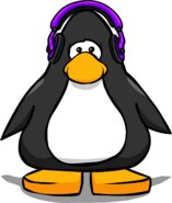 Purple Headphones on a Player Card