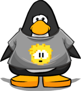 Gold Pixel Puffle Tee on a Player Card