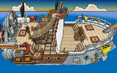 Rockhopper's Quest Migrator sailing to Dinosaur Island