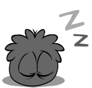 Black puffle sleeping