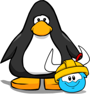 Gold Viking Helmet (Puffle Hat) on Player Card