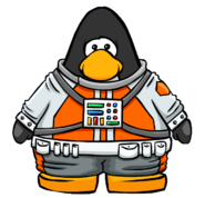 Orange Space Suit from a Player Crd