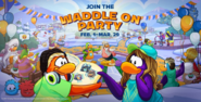 Waddle On Party Homepage and Login Screen